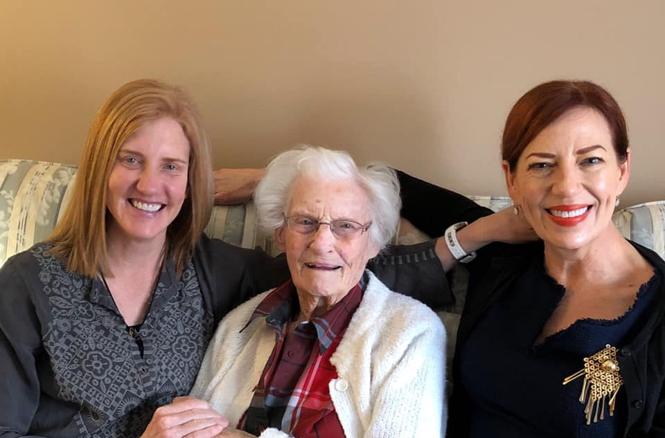 Sovereign Royal Care founder Deborah Burggraaff (right) with sister Dr. Barbara Ann Burggraaff and 98-year-old grandmother Elizabeth Burggraaff.